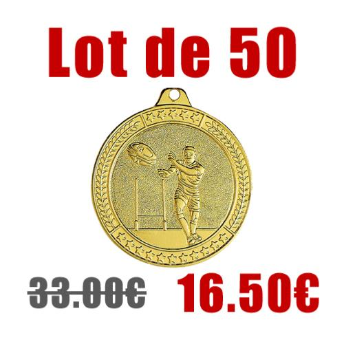 Médaille rugby Ø50mm lot 50